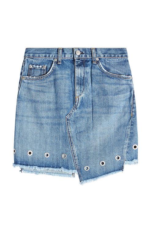 Rag & Bone Denim Skirt With Eyelets In Blue