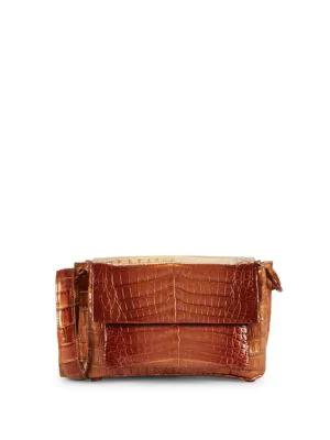 Nancy Gonzalez Crocodile Leather Shoulder Bag In Brick