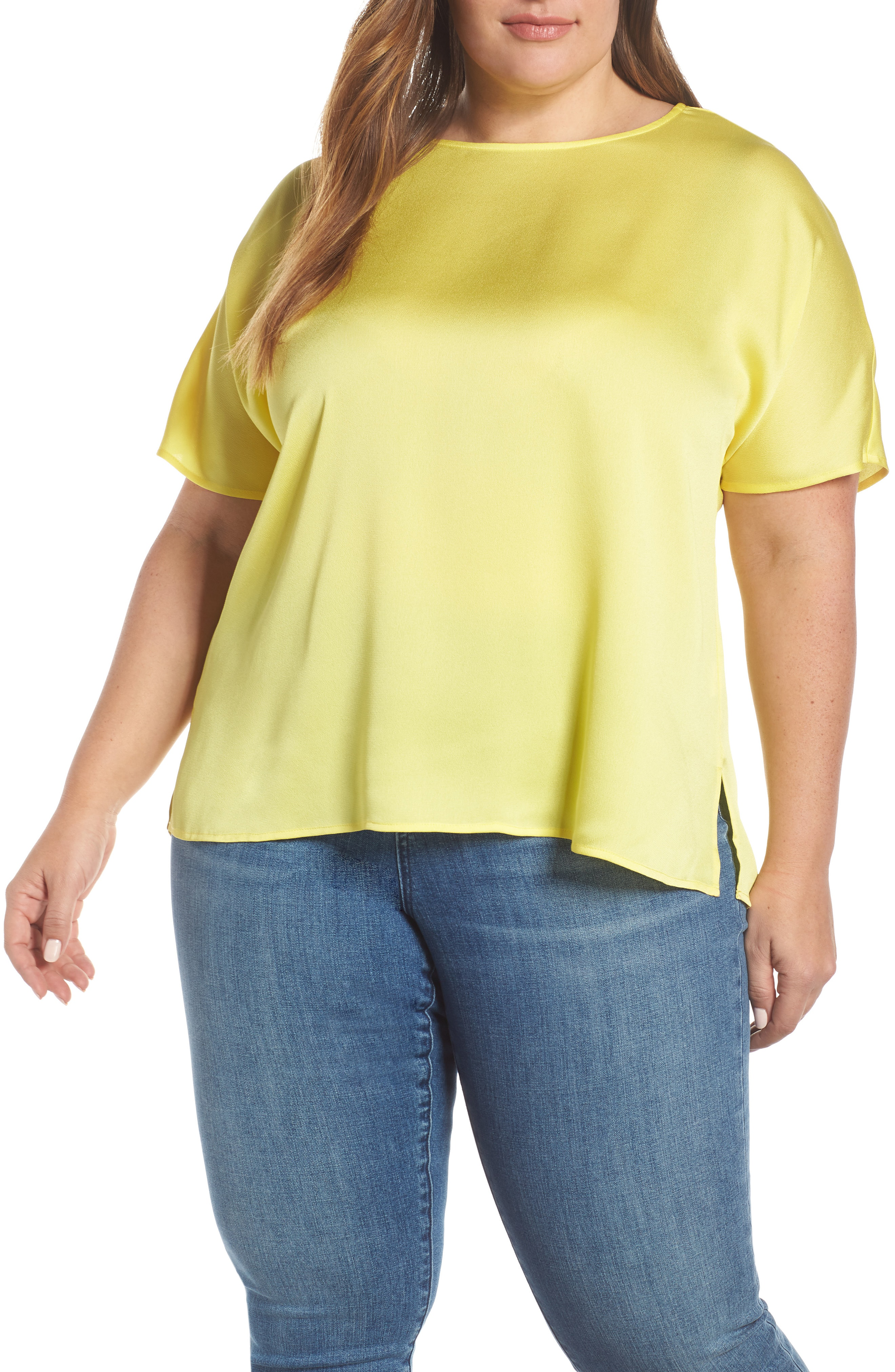Vince Camuto Pleat Back Hammered Satin Top In Blazing Yellow