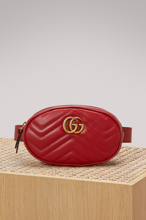 1a8a676822ab Gucci Gg Marmont 2.0 MatelassÉ Leather Belt Bag In Hibis Red/Hibis Red