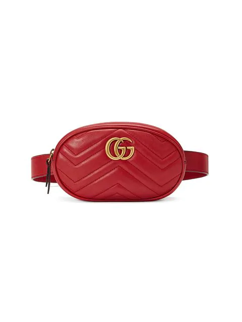 Gucci Red Gg Marmont Matelass Leather Belt Bag