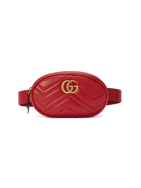 Gucci Gg Marmont Quilted Leather Belt Bag In Red