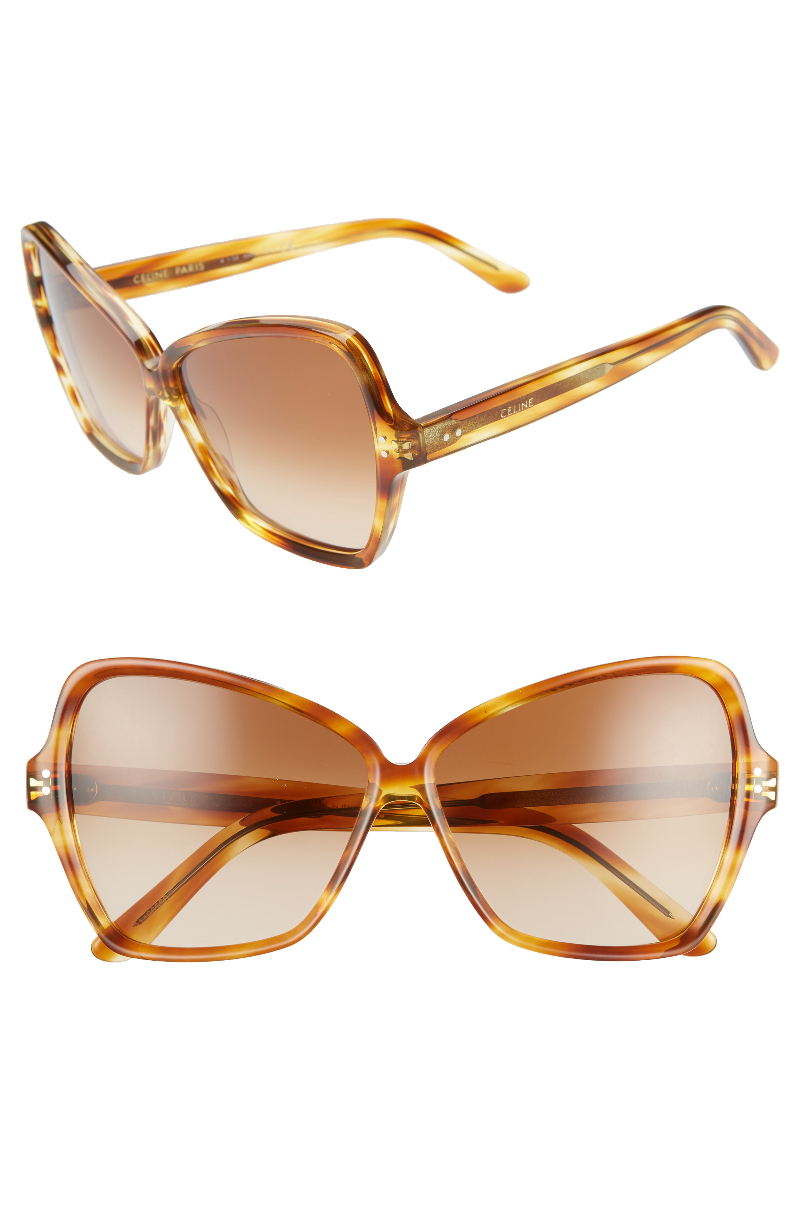 9b1198b884d1 Celine 64Mm Oversize Butterfly Sunglasses - Honey Flamed Havana  Brown