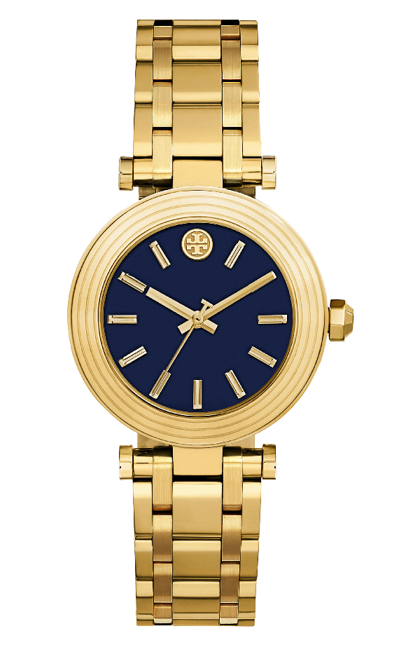 Tory Burch The Classic T Two-Tone Bracelet Watch, Golden/Navy In Gold/ Navy/ Gold