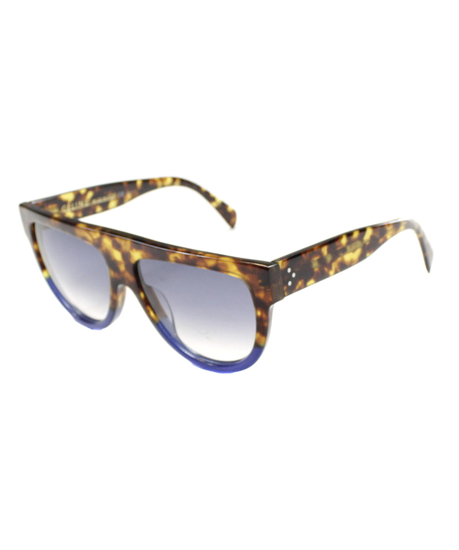 ebf3586e6e6b0 CELINE. Shadow Cl 41026 S Plastic Flat Top Sunglasses in Tortoise Blue
