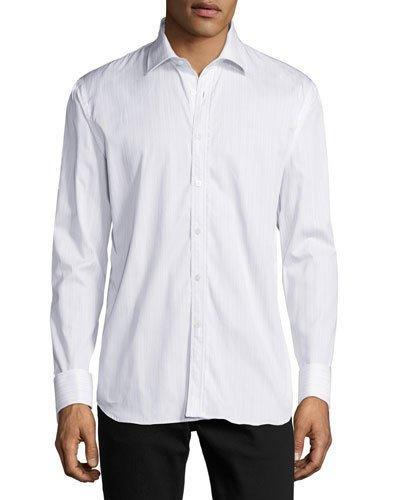Burberry Striped Button-front Shirt W/lace Trim, Light Blue