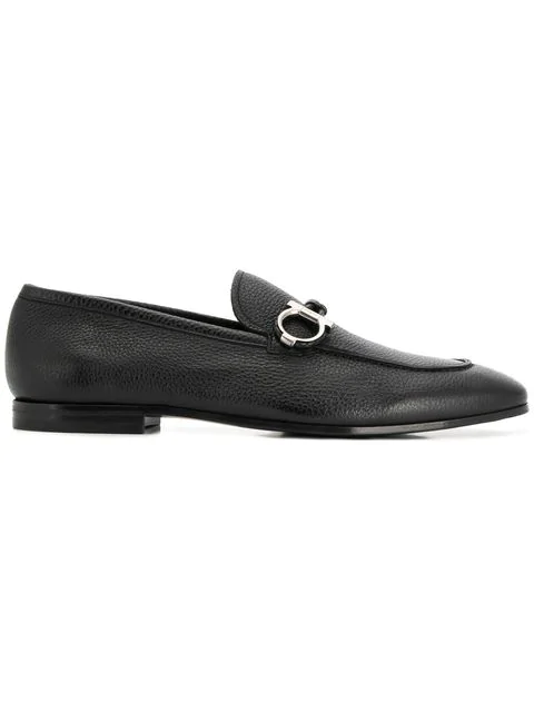 Salvatore Ferragamo Men's Leather Gancio Bit Loafers In Black
