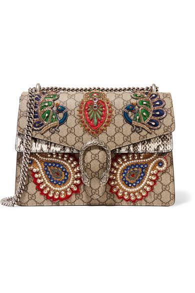 374731f74 Gucci Dionysus Medium AppliquÉD Embellished Coated-Canvas And Snake  Shoulder Bag In Gg Supreme