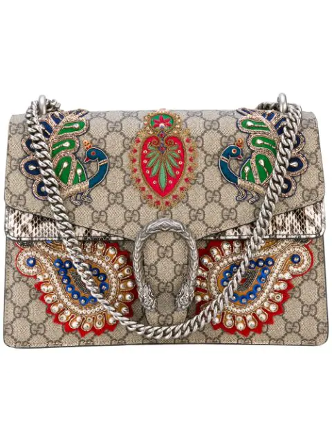 Gucci Dionysus Medium AppliquÉd Embellished Coated-canvas And Snake Shoulder Bag In Multicoloured
