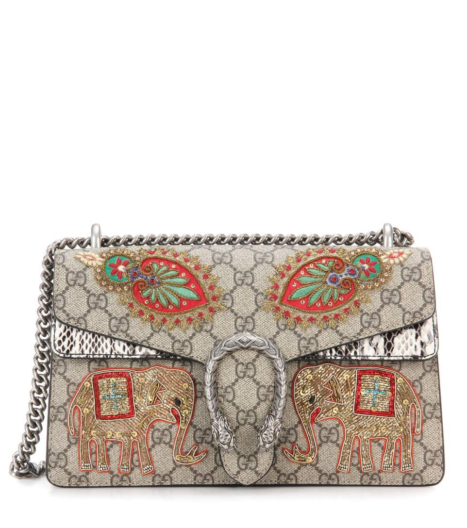 c2579f1941e1 Gucci Dionysus Gg Supreme Small Coated Canvas And Suede Shoulder Bag In  Tonal-Beige And