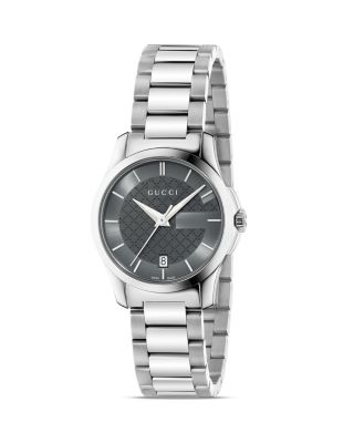 Gucci G-timeless Stainless Steel Bracelet Watch/anthracite In Silver