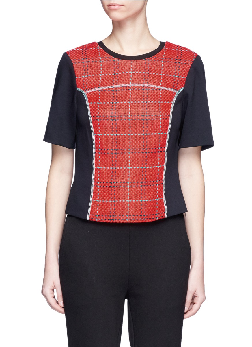 3.1 Phillip Lim Short-sleeve Boxy Surf Plaid Top, Poppy In Red