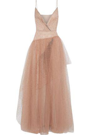 Valentino Woman Chiffon-Paneled Embellished Tulle Gown Blush