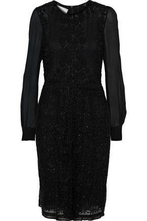 Valentino Woman Georgette-Paneled Beaded Tulle Playsuit Black
