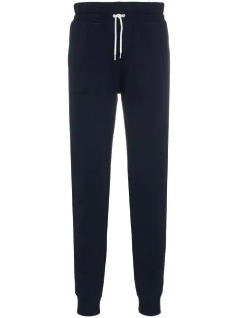 Maison Kitsuné Tricolour Fox Logo-embroidered Cotton Track Pants In Blue