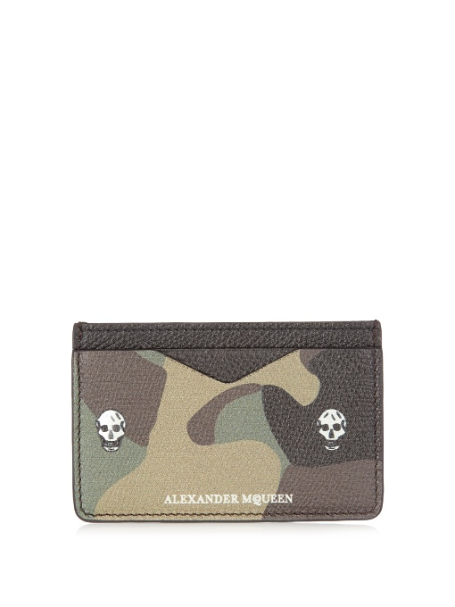 Alexander Mcqueen Camouflage-print Leather Cardholder In Black