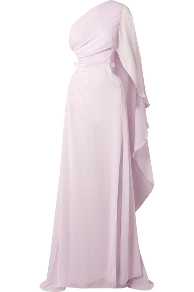 Cosette One-Shoulder Cutout Crinkled-Chiffon Gown in Lavender