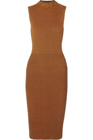 Victoria Beckham Cotton-Blend Waffle-Knit Midi Dress In Brown