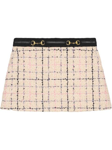 Gucci Embellished Cotton-Blend BouclÉ-Tweed Mini Skirt In Neutrals