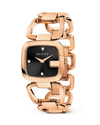 Gucci Ya125512 G- Collection Pink-gold Pvd Watch In Black