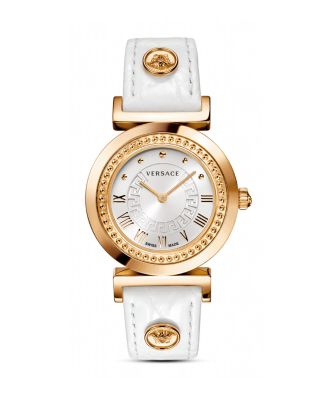 Versace 35mm Vanity Round Watch W/ Diamond Bezel & Leather Strap, Golden/white In Rose Gold/white