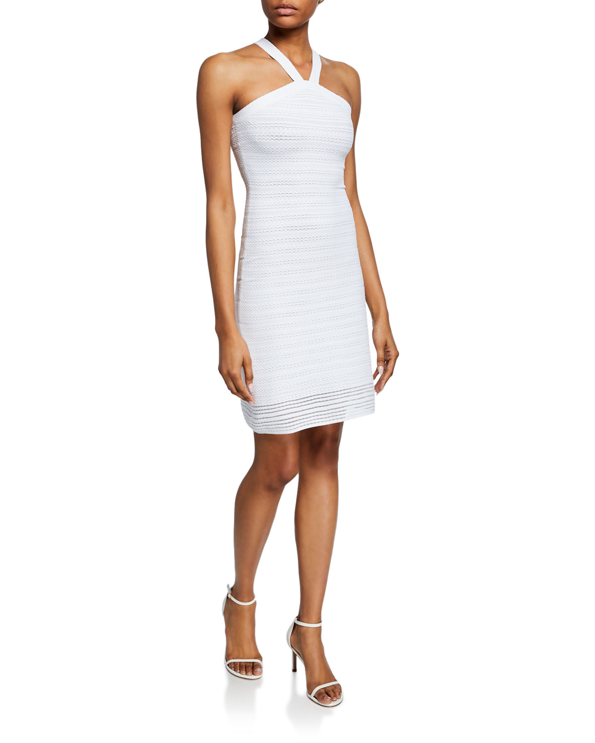 746395758ea AlaÏA Brocart Ribbed Halter-Neck Dress In White