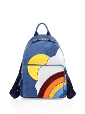 Anya Hindmarch Mini Cloud Suede, Leather, Calf Hair & Snakeskin Backpack In Blue