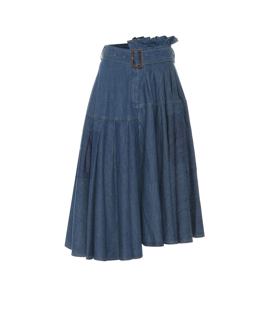 Jw Anderson Asymmetric Denim Midi Skirt In Blue