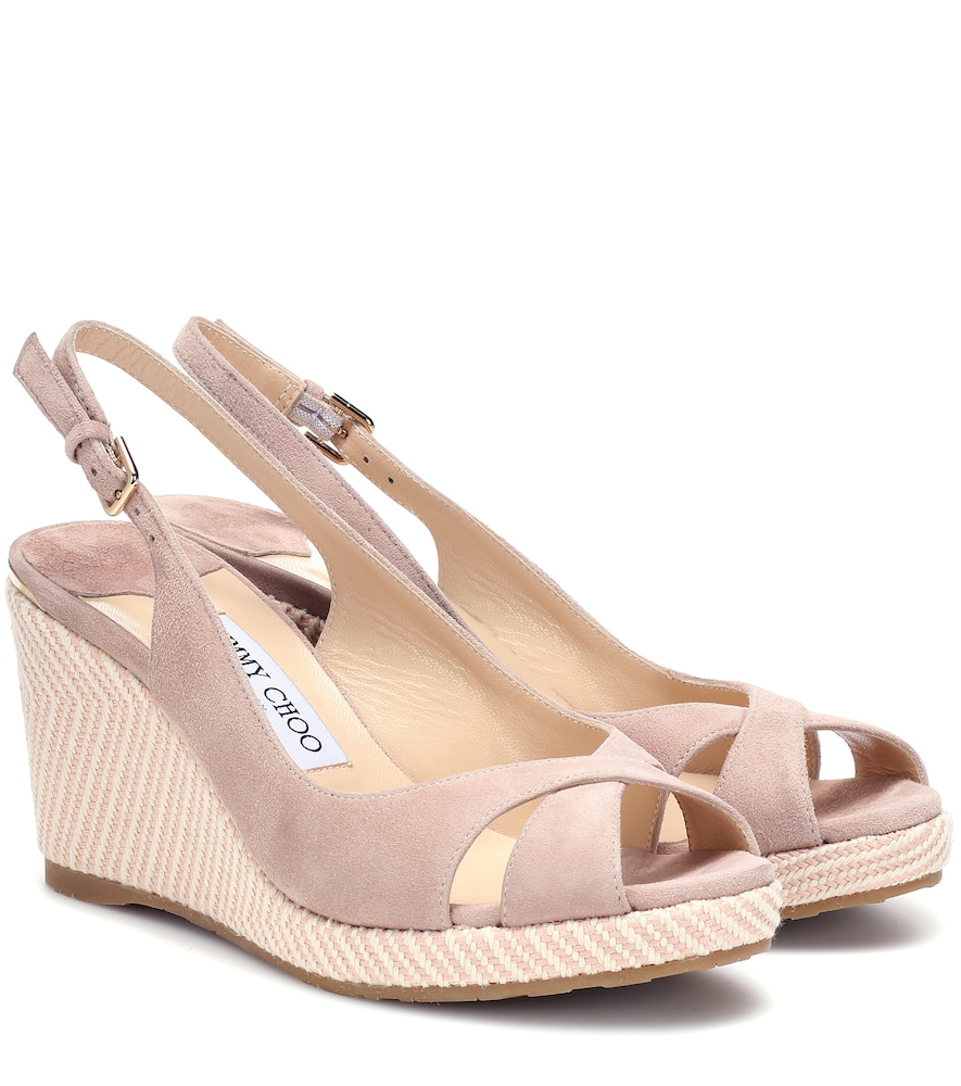 133ef89728b45 Jimmy Choo Amely 80 Suede Wedge Sandals In Pink | ModeSens
