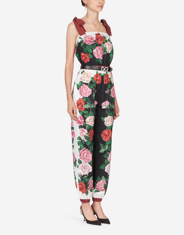Dolce & Gabbana Printed Cotton Jumpsuit In Multicoloured