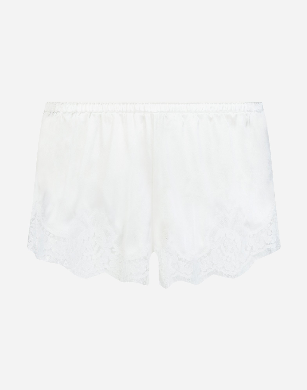 Dolce & Gabbana Shorts In Satin With Lace In White