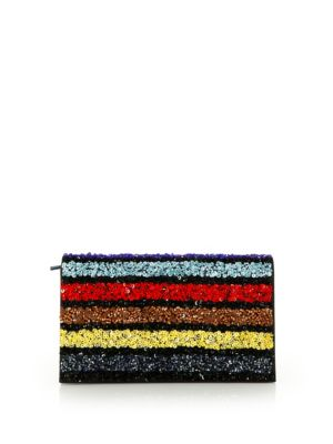 Alice And Olivia Sequin Stripe Leather Clutch In Multi
