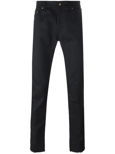 Saint Laurent 15cm Raw Cut Stretch Cotton Denim Jeans, Black