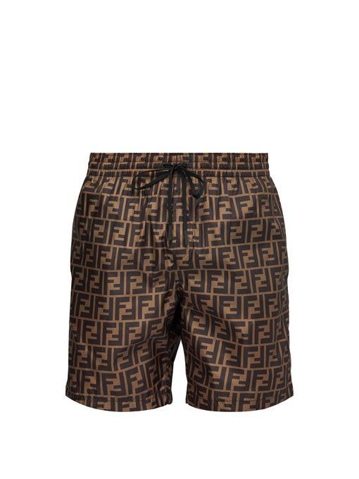 ec9d489f23 Fendi Men's Logo Allover Swim Trunks, Brown Pattern In Black | ModeSens