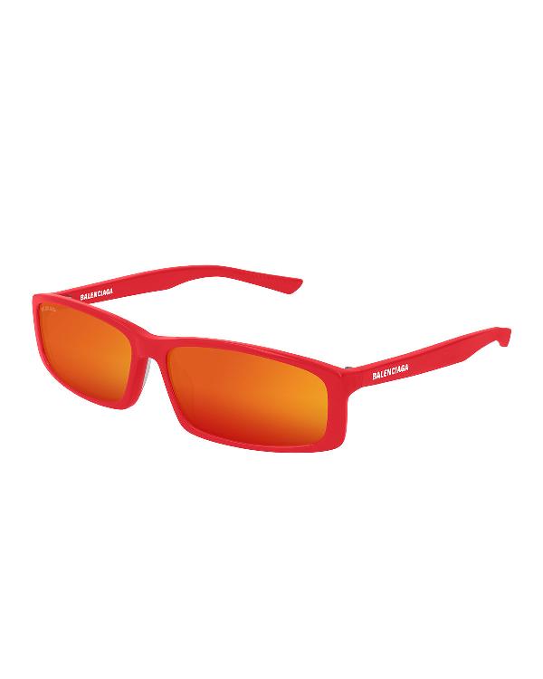 Balenciaga Men's 90S Inspired Rectangular Sunglasses In Red