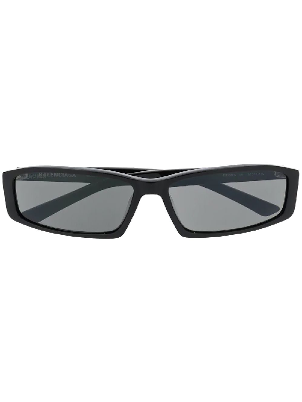 Balenciaga Rectangular-Frame Acetate Sunglasses In 001 Blkgrey