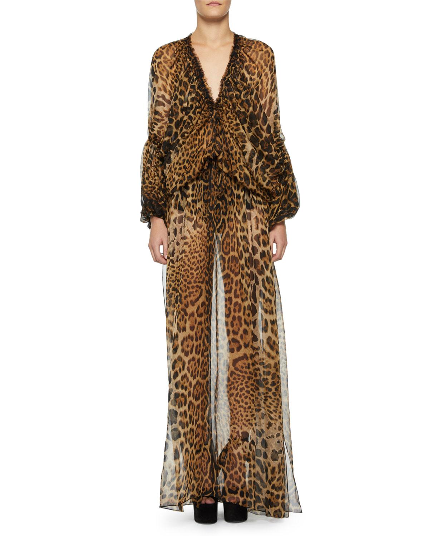 f5be03e5e41 Saint Laurent Sheer Leopard-Print Caftan | ModeSens