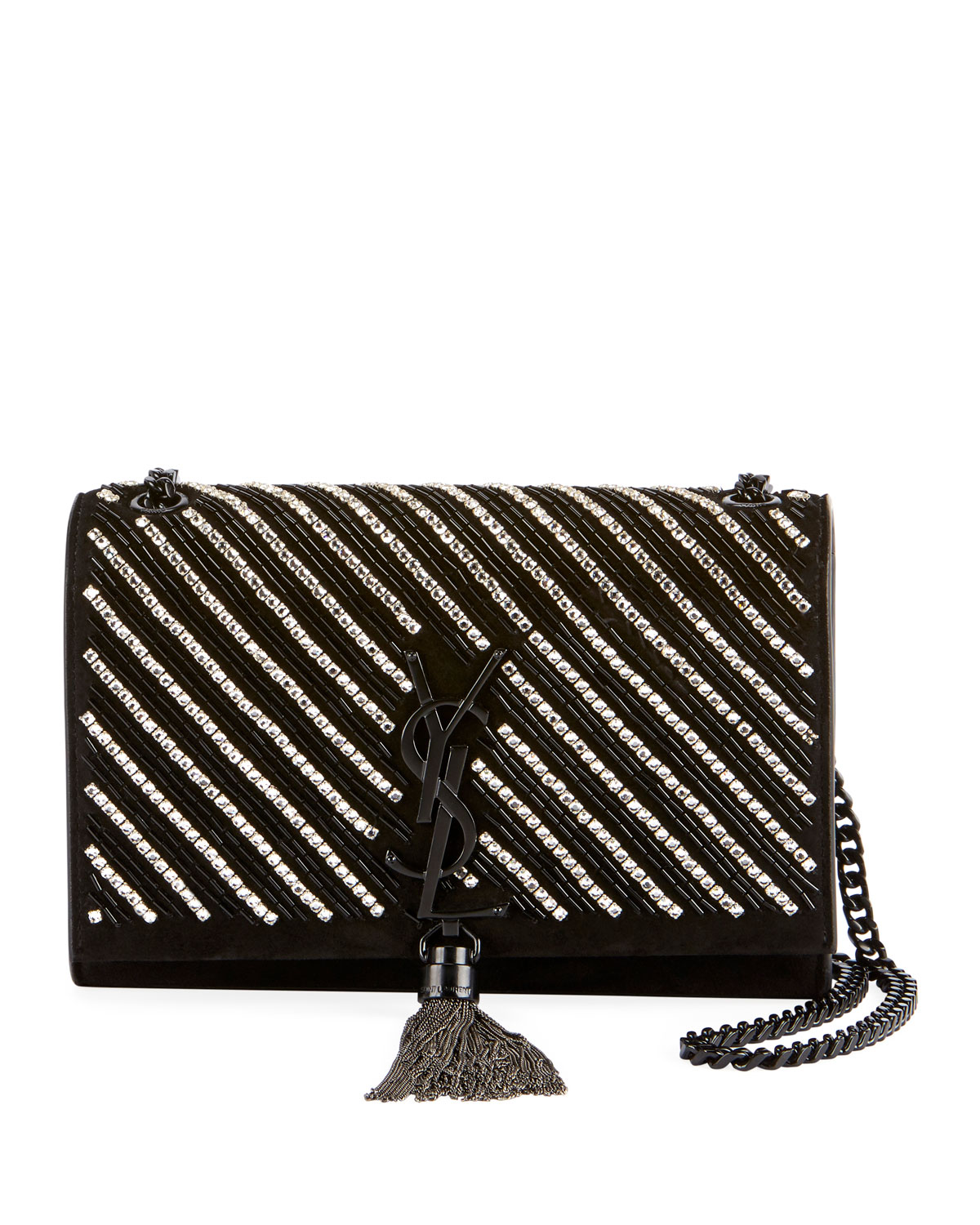 5fe28d94cc56 Saint Laurent Kate Small Ysl Monogram Tassel Crossbody Bag With Crystal  Stripes In Black Metallic