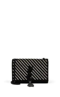 cd0b02b6259 Saint Laurent Kate Small Ysl Monogram Tassel Crossbody Bag With Crystal  Stripes In Black