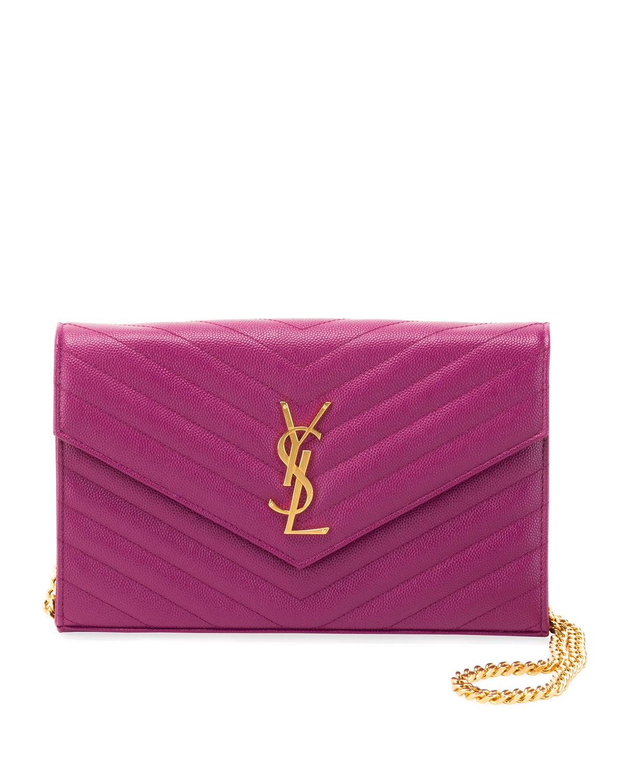 49e995b4aed Saint Laurent Matelasse Monogram Ysl Wallet On Chain In Purple ...