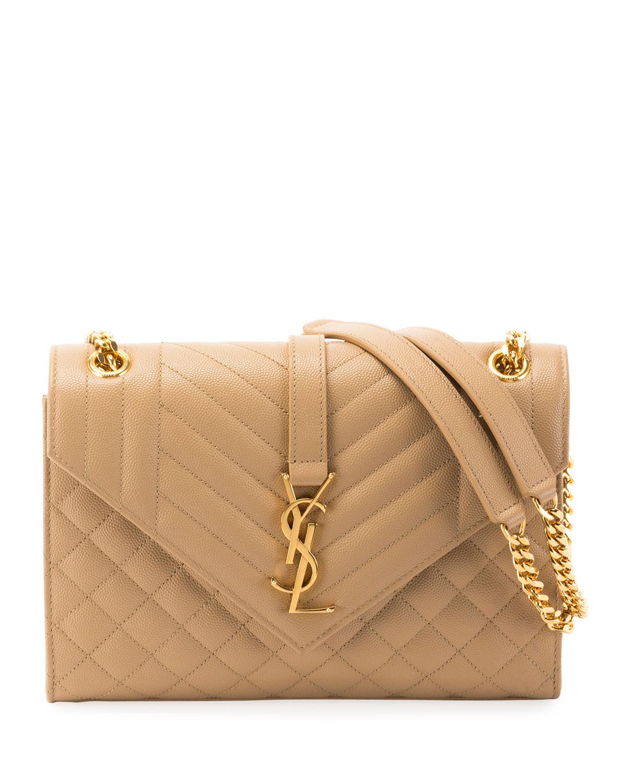 8ec88b6e9d V Flap Monogram YSL Medium Envelope Chain Shoulder Bag - Golden Hardware. Saint  Laurent shoulder bag in chevron- and diamond-quilted grain leather.