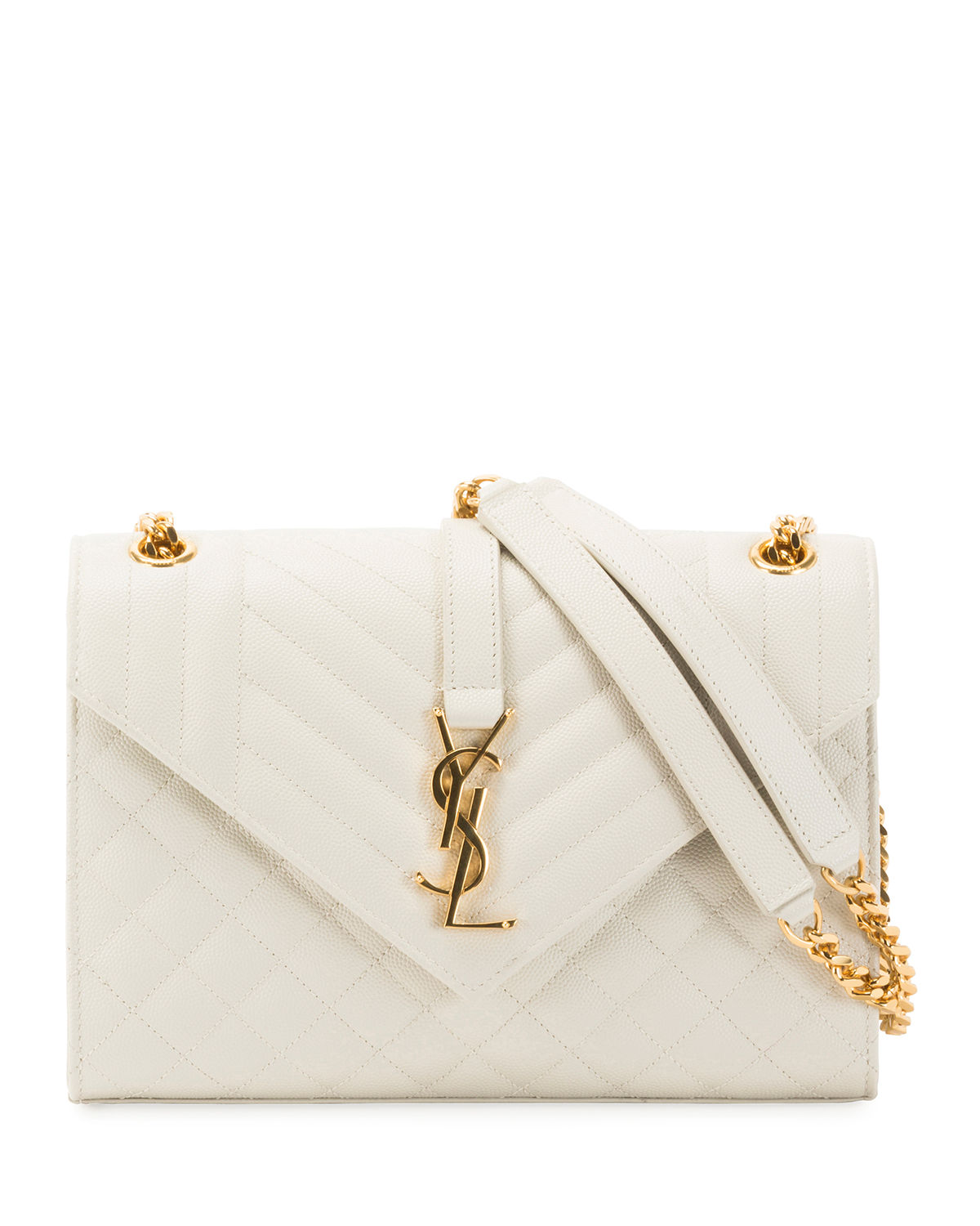 05d25faf59c Saint Laurent V Flap Monogram Ysl Medium Envelope Chain Shoulder Bag -  Golden Hardware In White