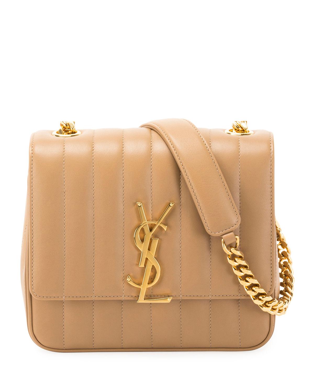 5cc837f8657 Saint Laurent Vicky Medium Ysl Monogram Chain Crossbody Bag In Camel ...
