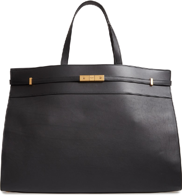 87ea6a35115fb Saint Laurent Manhattan Medium Belted Leather Shoulder Tote Bag - Golden  Hardware In Noir