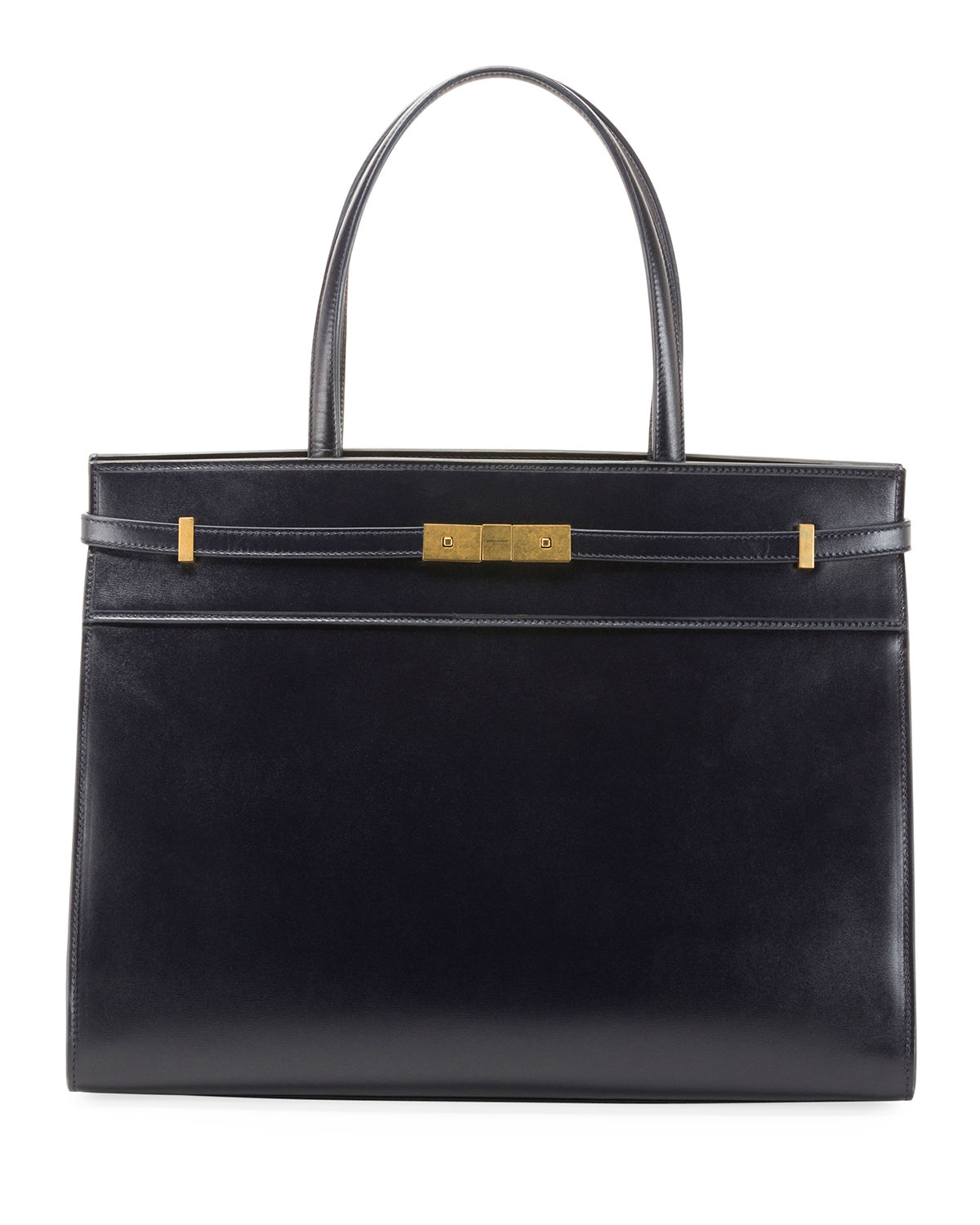 1c91d0ab6037a Saint Laurent Manhattan Medium Belted Leather Shoulder Tote Bag - Golden  Hardware In Navy