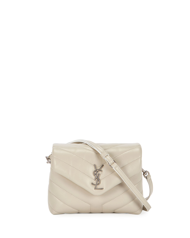 935b7067639 Saint Laurent Loulou Monogram Ysl Mini V-Flap Calf Leather Crossbody Bag -  Nickel Oxide