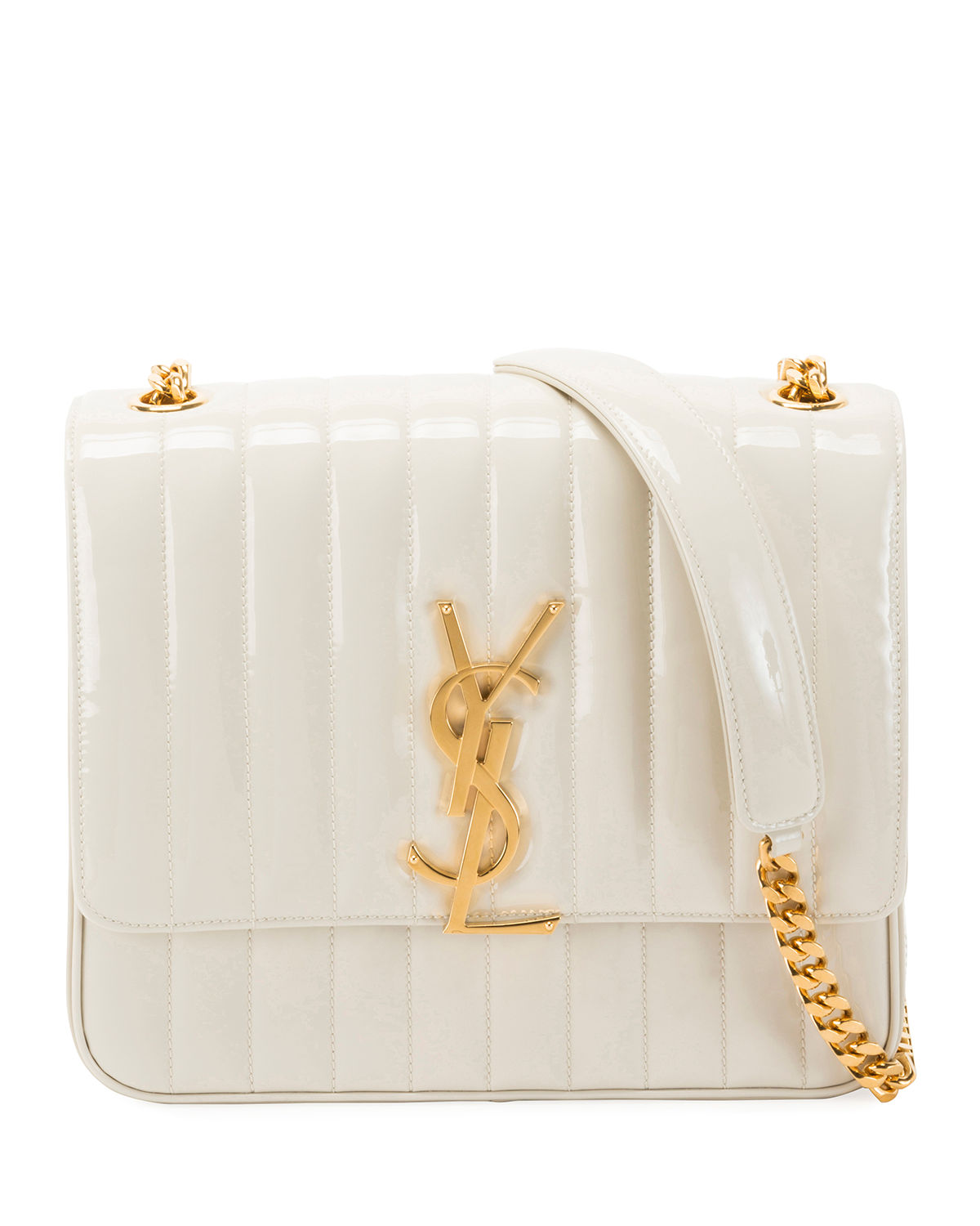 Saint Laurent Vicky Monogram Ysl Large Quilted Patent Chain Crossbody Bag  In White cdd59254ccaba