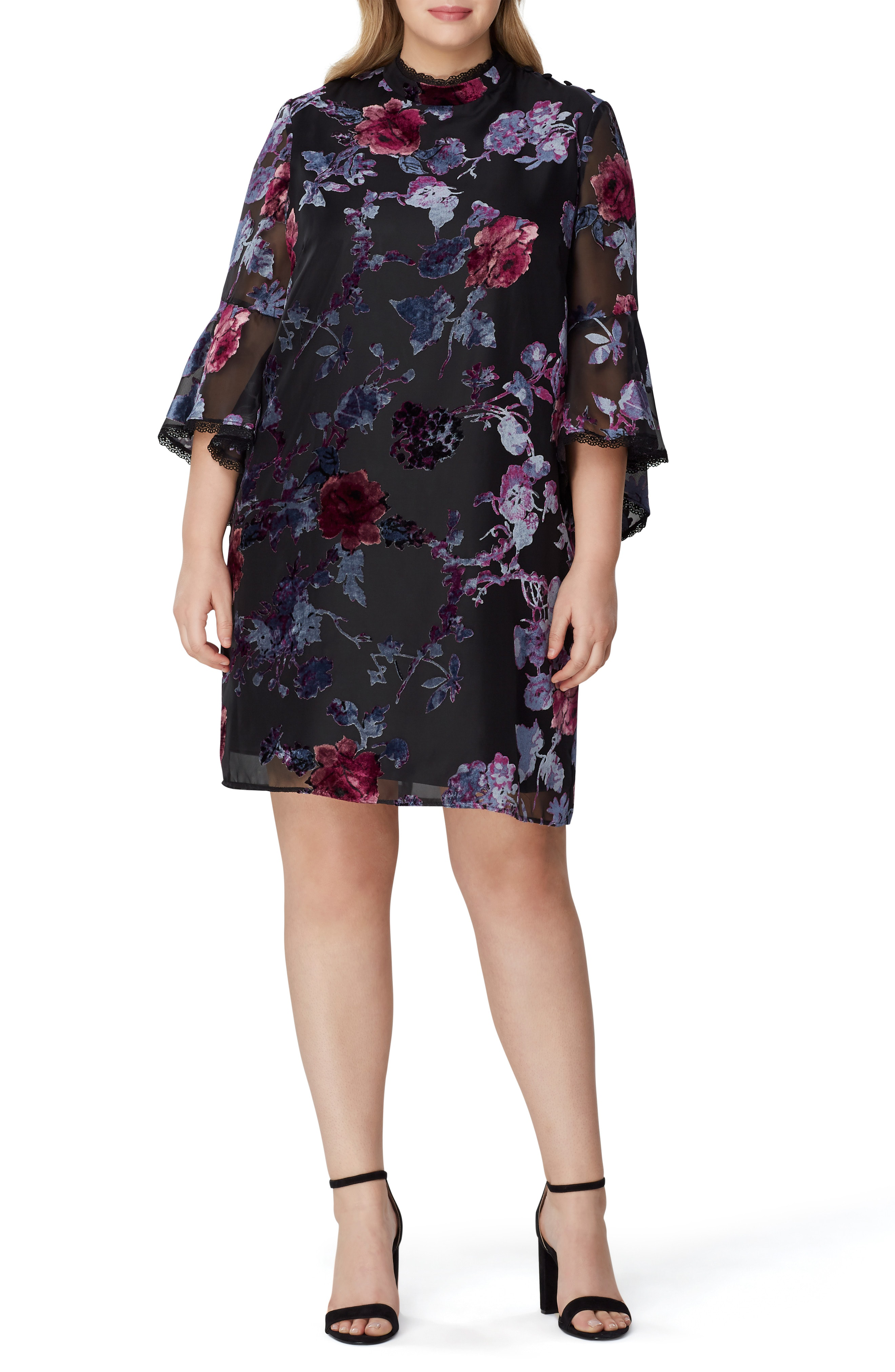 80f3f403f4e0 Tahari Floral Burnout Bell Sleeve Shift Dress In Black/ Lilac/ Rose ...
