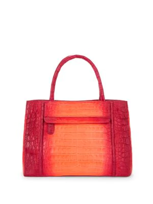 Nancy Gonzalez Crocodile Leather Satchel Bag In Red Degrad
