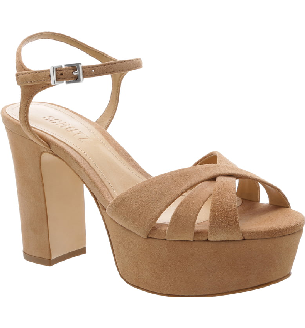 Schutz Women's Keefa High-Heel Platform Sandals In Honey Beige Nubuck Leather